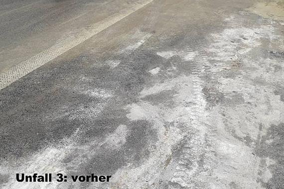 Verunreinigter Straßenabschnitt