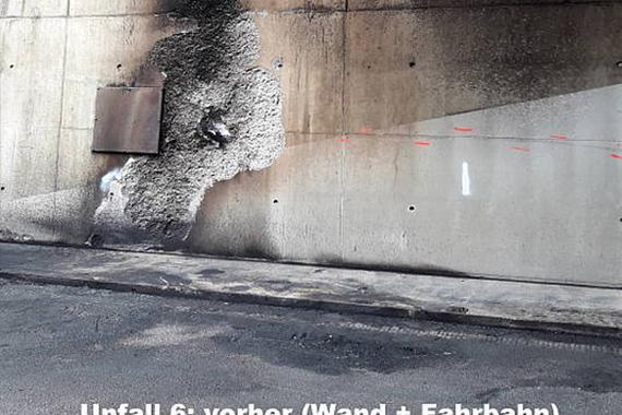 verschmutzte Tunnelwand